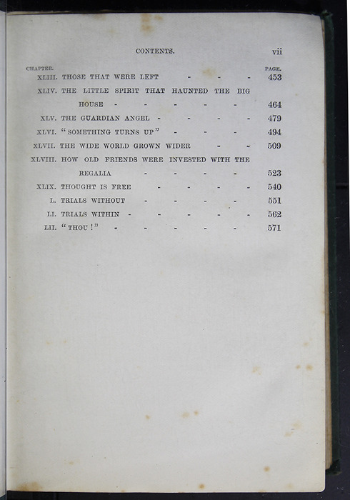 "Third Page of the Table of Contents to the [1884] Frederick Warne & Co. ""Star Series"" Reprint"