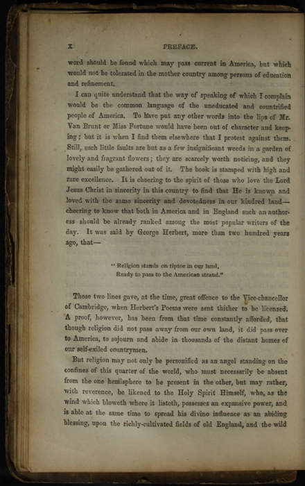 Page x of the Preface to the [1853] Clarke, Beeton, & Co. Reprint, Version 1