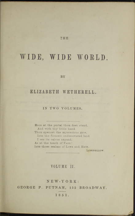 Title Page to Volume 2 of the 1851 George P. Putnam First Edition, Version 3