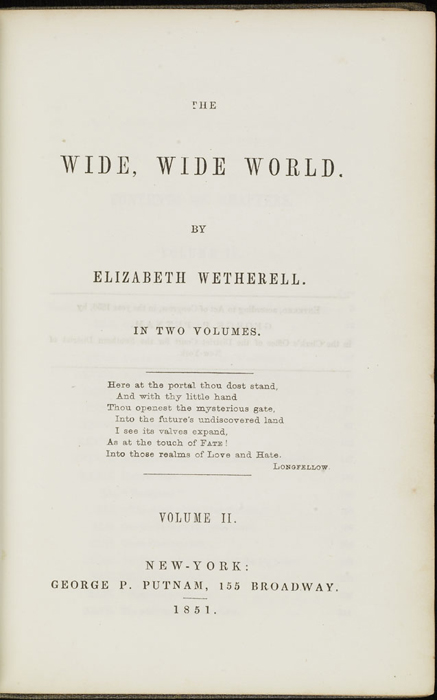 Title Page to Volume 2 of the 1851 George P. Putnam First Edition