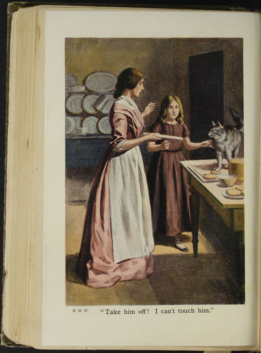 Full-Color Plate on Page 156b of the [1907] Collins' Clear-Type Press Reprint Depicting Ellen and Alice Making Cakes
