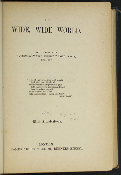 Title Page to  [1893] James Nisbet & Co. Reprint