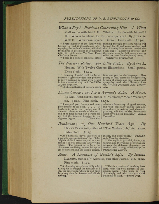"""Second Page of Back Advertisement in the 1880 J. B. Lippincott & Co. """"New Edition"""" Reprint"""