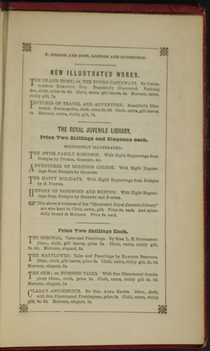 Sixth Page of Back Advertisements in the 1852 T. Nelson & Sons Reprint, Version 1