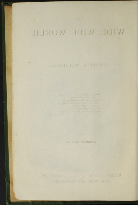 "Verso of Title Page of the [1903] Ward, Lock, & Co., Ltd. ""Complete Edition"" Reprint"