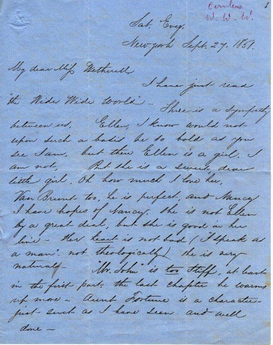 """Ellen's Ardent Admirer"" to Susan Warner, New York, September 27, 1851, February 28, 1852"