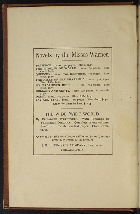 """Front Advertisement in the 1891 J. B. Lippincott Co. """"New Edition"""" Reprint"""