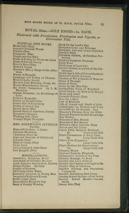 Eleventh Page of Back Advertisements in the [1879] Milner & Sowerby Reprint