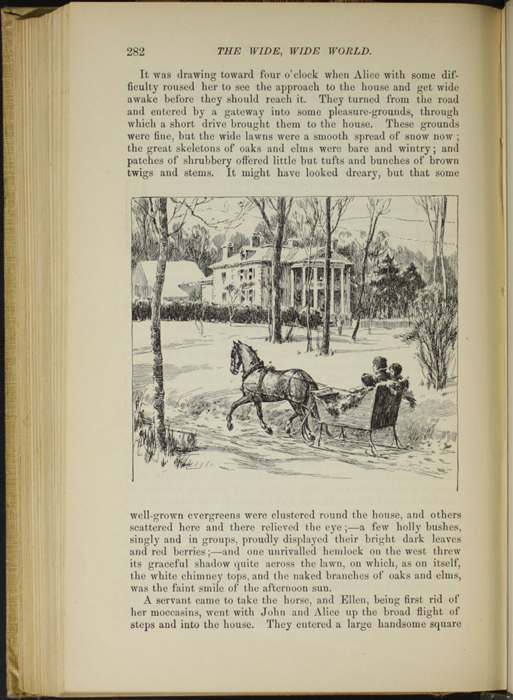 "Illustration on Page 282 of the 1892 J. B. Lippincott Co. ""New Edition"" Reprint Depicting Alice, Ellen, and John in the Sleigh"