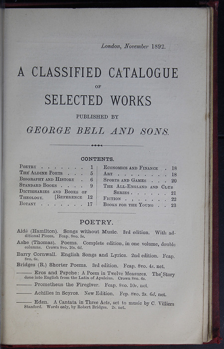First Page of Back Advertisements of the G. Bell 1889 Reprint