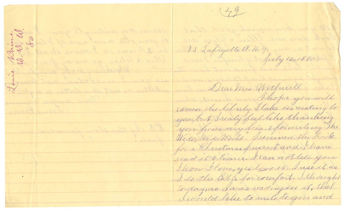 Brine, Louie to Mrs. Wetherell, 35 Lafayette Place, NY, July 16, 1880