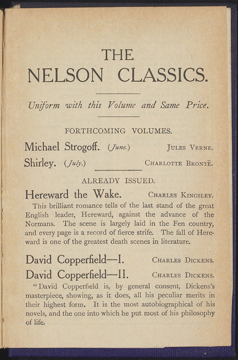 "Advertisement in the [1922] T. Nelson & Sons ""The Nelson Classics"" Reprint"