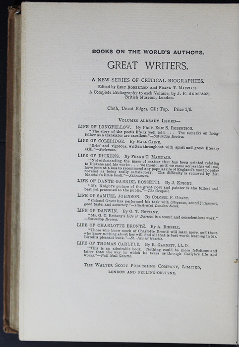 Tenth Page of Back Advertisements in the [1896] The Walter Scott Publishing Co. Ltd. Reprint