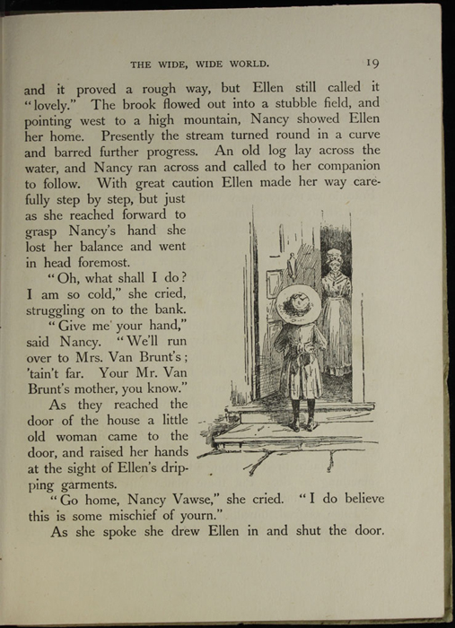 Illustration on Page 19 of the [1918] Thomas Nelson & Sons, Ltd. Abridged Reprint Depicting Nancy Knocking on Mrs. Van Brunt's Door After Ellen Has Fallen into the Brook