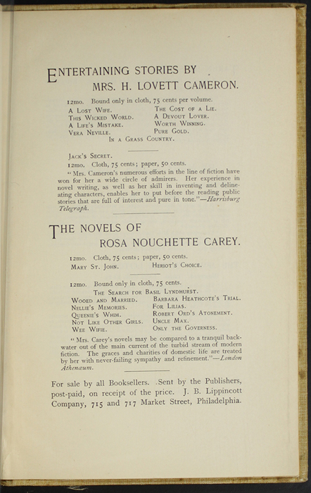 "Third Page of Back Advertisements in the 1892 J. B. Lippincott Co. ""New Edition"" Reprint"