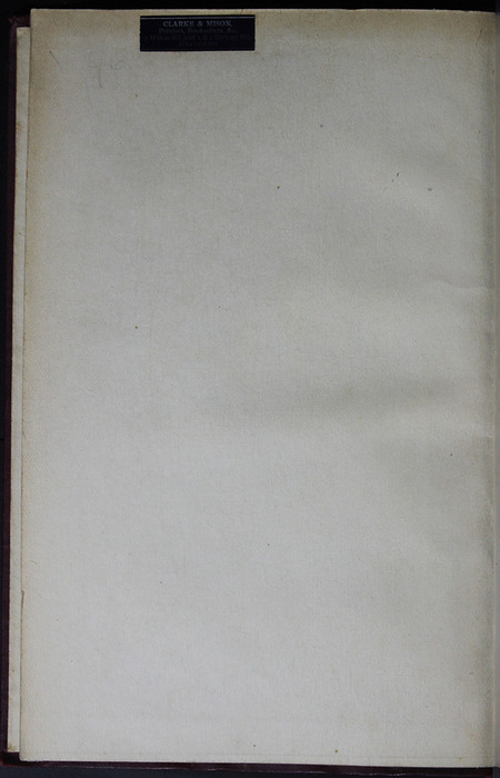 "Verso of Front Flyleaf in the [1909] Collins' Clear-Type Press ""The Imperial Series"" Reprint"
