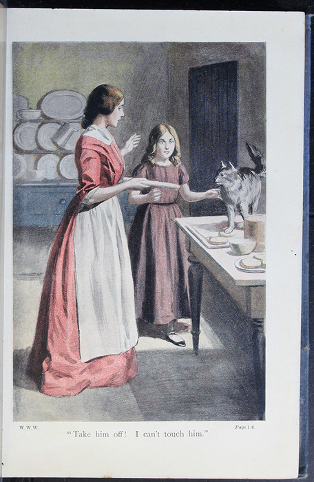 "Illustration on Page 156a of the [1910] Collins' Clear-Type Press ""The Challenge Series"" Reprint Depicting Ellen and Alice Making Cakes"