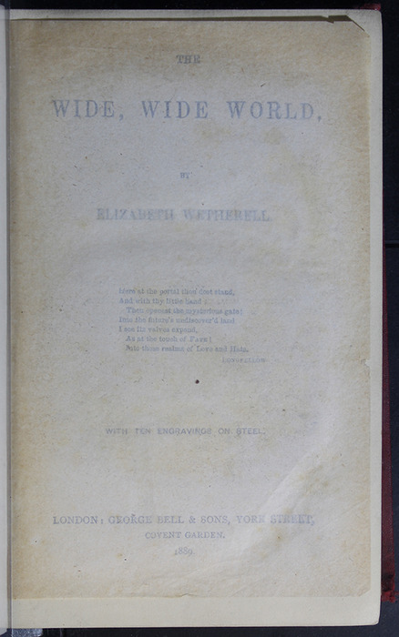 Recto of Tissue Preceding the Title Page to the 1889 G. Bell Reprint