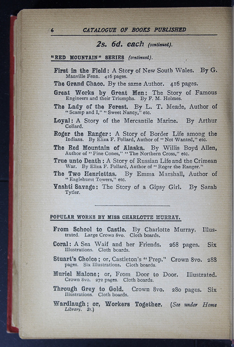 "Sixth Page of Back Advertisements in the [1896] S. W. Partridge & Co. ""Marigold Series"" Reprint"