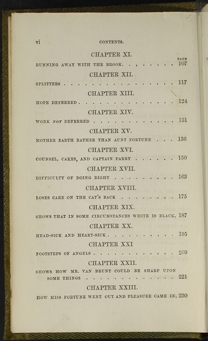 Second Page of the Table of Contents of the 1853 G. Routledge and Co. Reprint