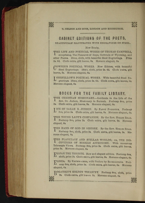 Fifth Page of Back Advertisements in the 1852 T. Nelson & Sons Reprint, Version 1