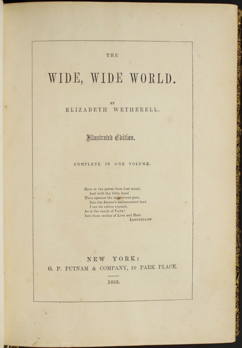 Title Page to the 1853 G.P. Putnam & Co. Illustrated Edition Reprint