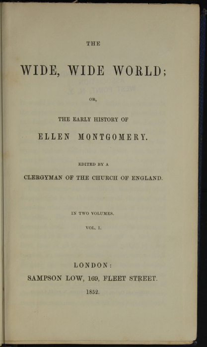 Title Page to Volume 1 of the 1852 Sampson Low Reprint