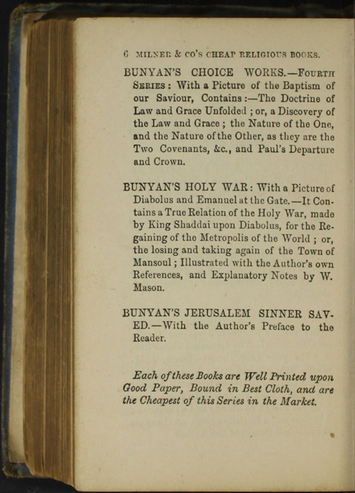 Sixth Page of Back Advertisements in the [1868] Milner & Co. Reprint, Version 1