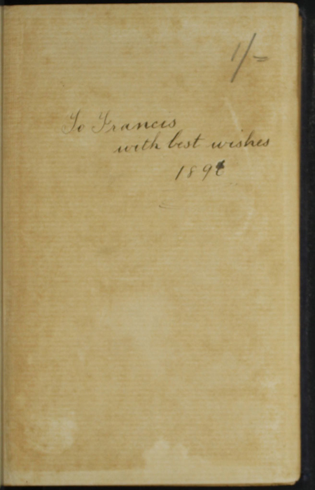 """Recto of Front Flyleaf with Inscription of the [1896] The Grand Colosseum Warehouse Co. """"Complete Edition"""" Reprint"""