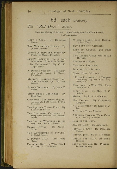 Thirtieth Page of Back Advertisements in the [1910] S. W. Partridge & Co., Ltd. Reprint