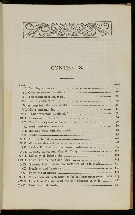 """First Page of the Table of Contents for the [1882] Ward, Lock & Co. """"Lily Series, Complete Edition"""" Reprint"""