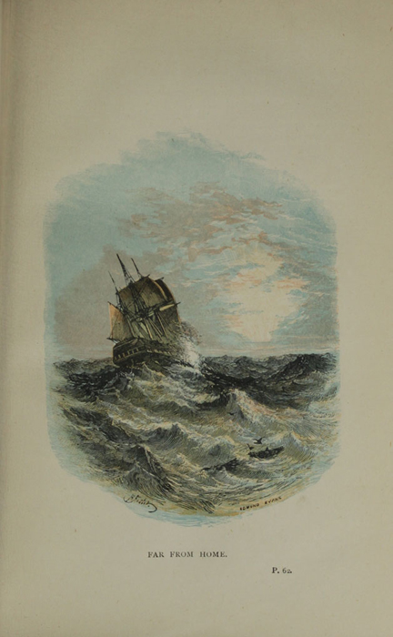 """Illustration on Page 62a of the 1887 James Nisbet & Co. """"Golden Ladder Series, New Edition"""" Reprint Depicting a Ship at Sea"""