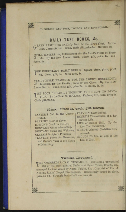 Eighth Page of Back Advertisements in the 1852 T. Nelson & Sons Reprint, Version 2