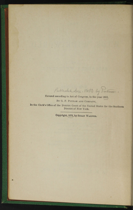 """Copyright Page to the 1880 J. B. Lippincott & Co. """"New Edition"""" Reprint"""