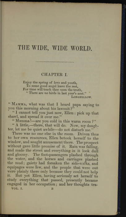First Page of Text in Volume 1 of the 1852 Sampson Low Reprint<br /><br />