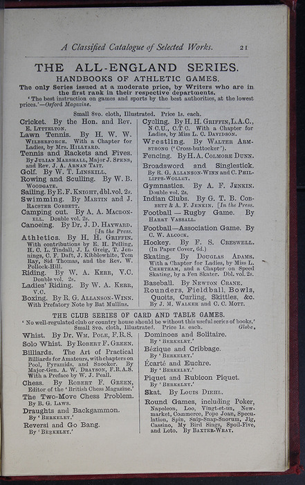 Twenty-First Page of Back Advertisements of the G. Bell 1889 Reprint