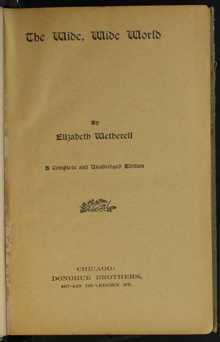 "Title Page to the [1900] Donohue Brothers ""Completed and Unabridged Ed."" Reprint"