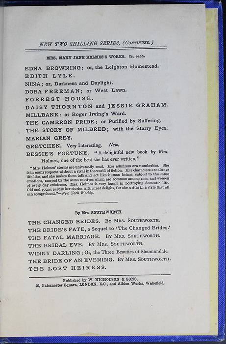 Third Page of Back Advertisements in the [1887] W. Nicholson & Sons Reprint, Version 2