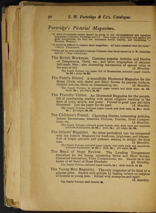Thirty-Second Page of Back Advertisements in the [1904] S. W. Partridge & Co. Reprint