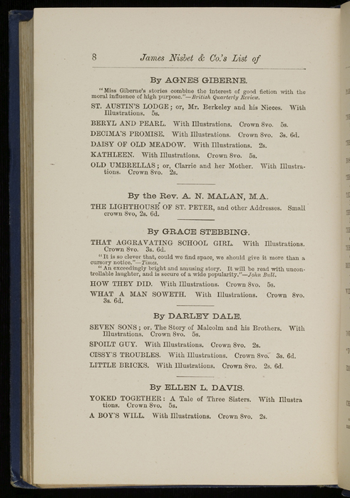 "Eighth Page of Back Advertisements in 1886 James Nisbet & Co. ""New ed. Golden Ladder Series"" Reprint"