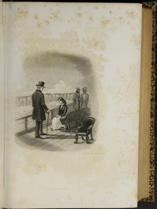 "Illustration on Page 82d of Volume 1 of the 1853 G.P. Putnam & Co. ""Illustrated Edition"" Reprint Depicting Ellen and George Marshman Aboard the Steamboat"