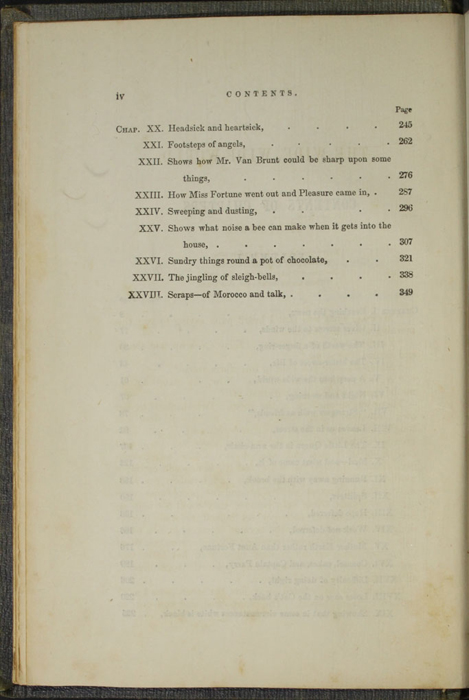 Second Page of the Table of Contents for Volume 1 of the 1851 George P. Putnam First Edition, Version 3