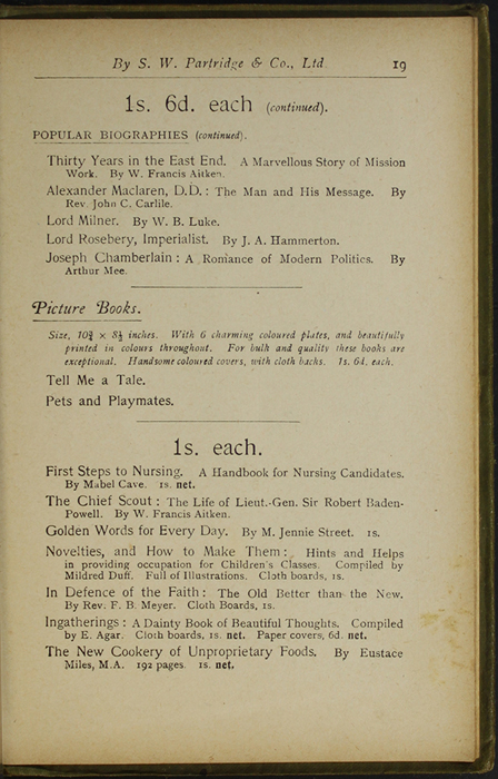 Nineteenth Page of Back Advertisements in the [1910] S. W. Partridge & Co., Ltd. Reprint