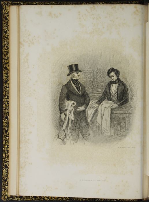 "Illustration on Page 58c of Volume 1 of the 1853 G.P. Putnam & Co. ""Illustrated Edition"" Reprint Depicting the Old Gentleman Confronting Mr. Saunders at the Shop Counter"