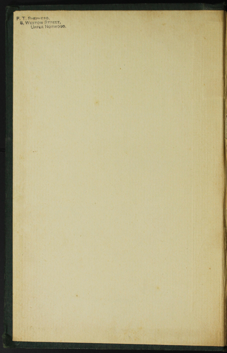 Front Pastedown of the [1906] Charles H. Kelly Reprint, Version 1