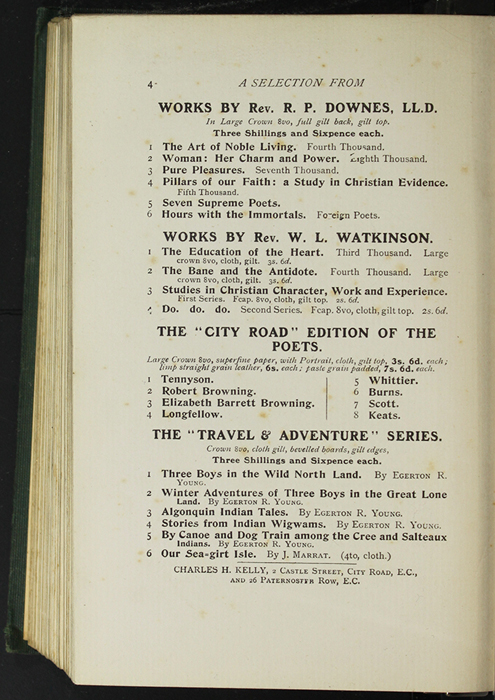 Fourth Page of Back Advertisements in the [1906] Charles H. Kelly Reprint, Version 1