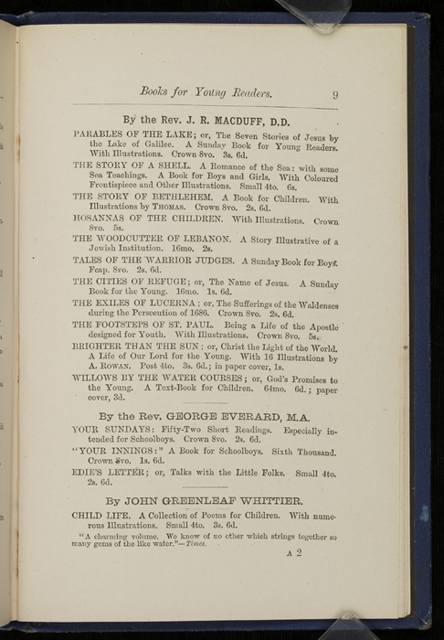 "Ninth Page of Back Advertisements in 1886 James Nisbet & Co. ""New ed. Golden Ladder Series"" Reprint"