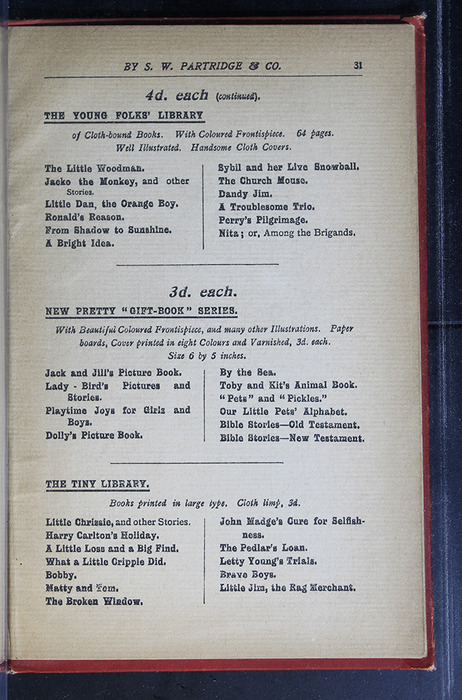 "Thirty-First Page of Back Advertisements in the [1896] S. W. Partridge & Co. ""Marigold Series"" Reprint"