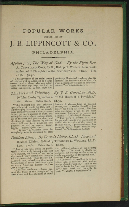 """First Page of Back Advertisement in the 1880 J. B. Lippincott & Co. """"New Edition"""" Reprint"""