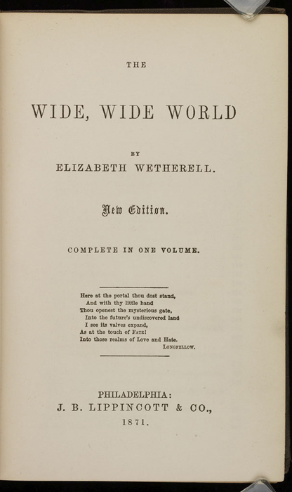 """Title Page of the 1871 J. B. Lippincott & Co. """"New Edition"""" Reprint"""